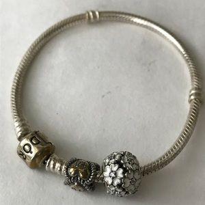 Silver Pandora bracelet with 2 charms
